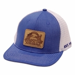 Barstow Leather Patch Trucker Cap - Chambray/White