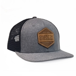 Barstow Curved Bill Trucker Cap - Charcoal/Black  with Leather Patch